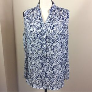 CAbi Navy Blue & White Sleeveless Plaza Blouse